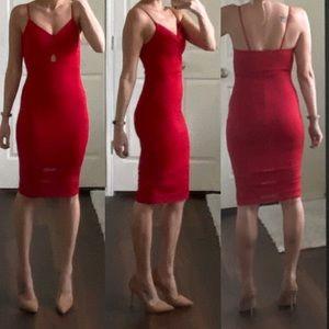 Red mesh cutout cut out midi bodycon dress